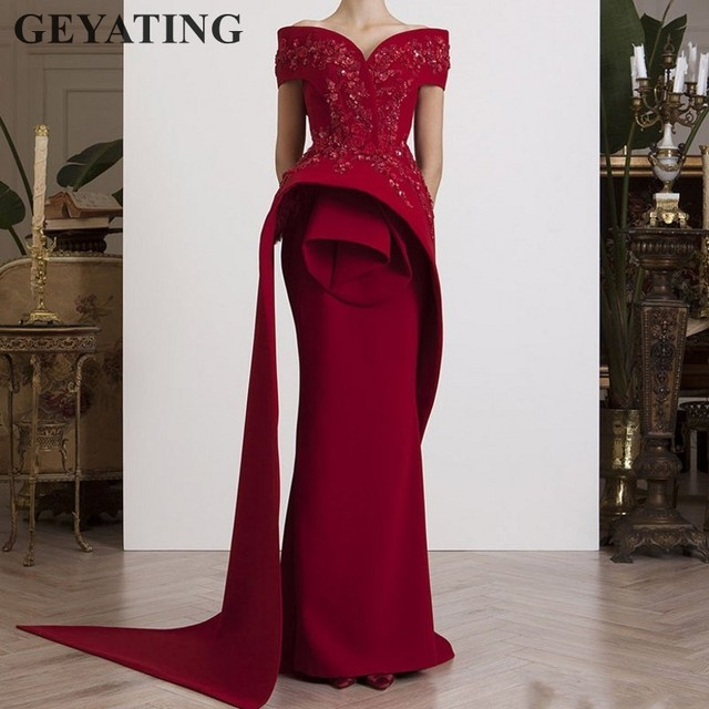 aa6c05efa9a Elegant Off the Shoulder Mermaid Evening Gowns Long Burgundy Prom Dresses  2019 Lace Appliques Beads Wine Red Formal Party Dress