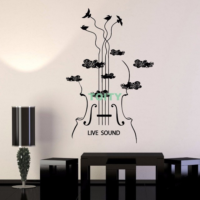 vinyl wall decal violin musical instrument store musician sticker