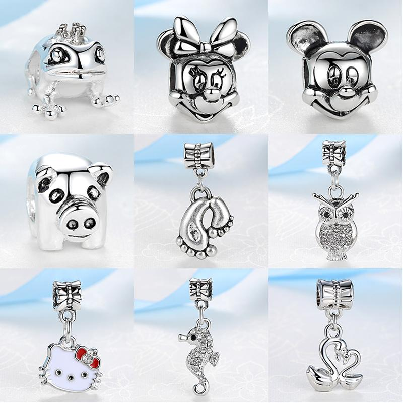 2017 Women Silver Bead Charms Animal World All Kinds Of Lovely Animals Pendant Fit Pandora Bracelets