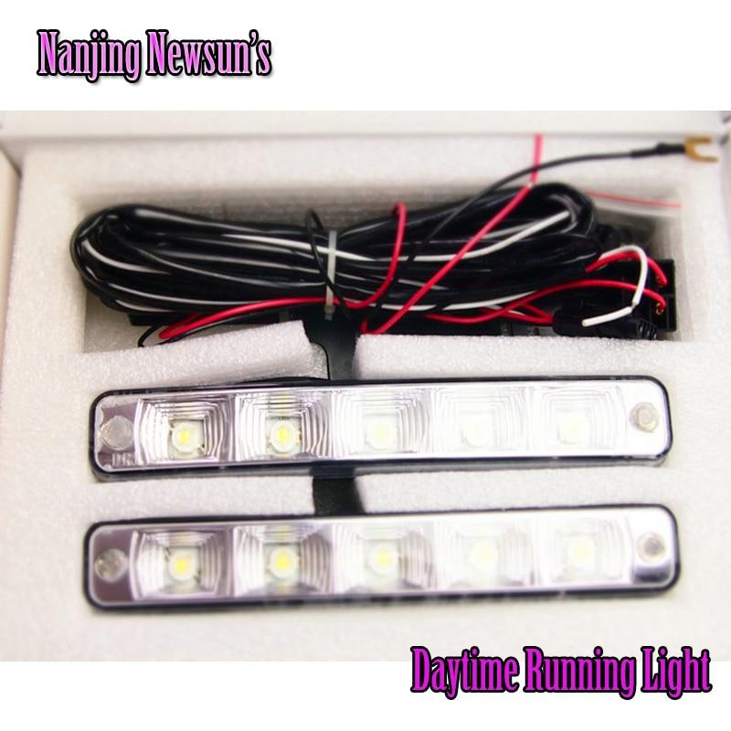 One Pair Car Daytime Running Light Led DRL Auto Universal White 12V DC 5 Led 6000 6500K Super Bright Day Light  Head Lamp auto car 1 3w 30 led 200lm 6000k white yellow light daytime running lamp dc 12v pair
