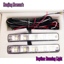Un Par de Coches de Luces Circulación Diurna Led DRL Auto Universal Blanco 12 V DC 5 tira del Led 6000 6500 K Super Brillante Día de Luz Cabeza lámpara