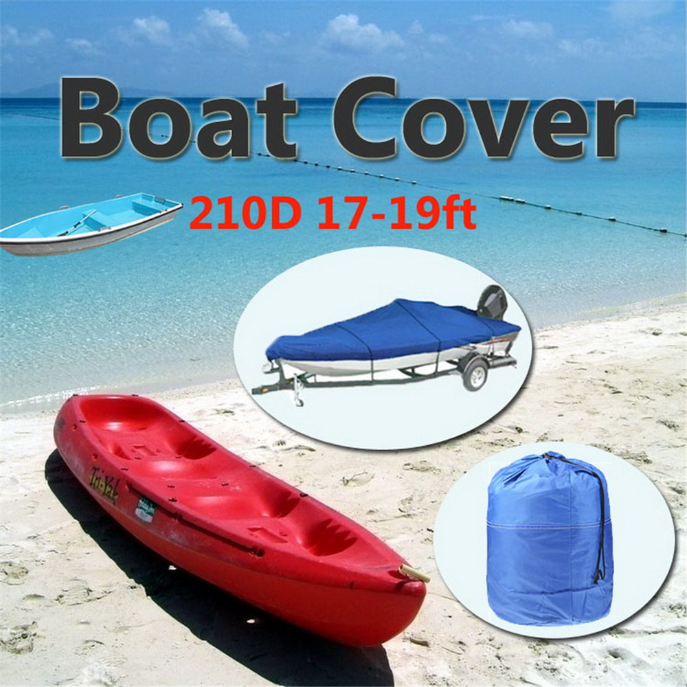 2018 NEW 17-19ft Heavy Duty Speedboat Boat Cover blue Waterproof UV Protector Snow Resistant 210D Fish Ski V-Hull Proof
