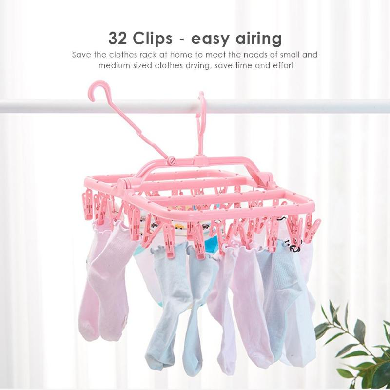 32 Clips Folding Portable Socks Cloth Hanger Rack Clothespin Multifunctional Drying Rack Sock Holder Wardrobe Storage Hangers