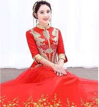 Chinese Vintage Style bride wedding dress red wedding clothes Xiu he toast Chinese cheongsam show thin summer embroidery dress