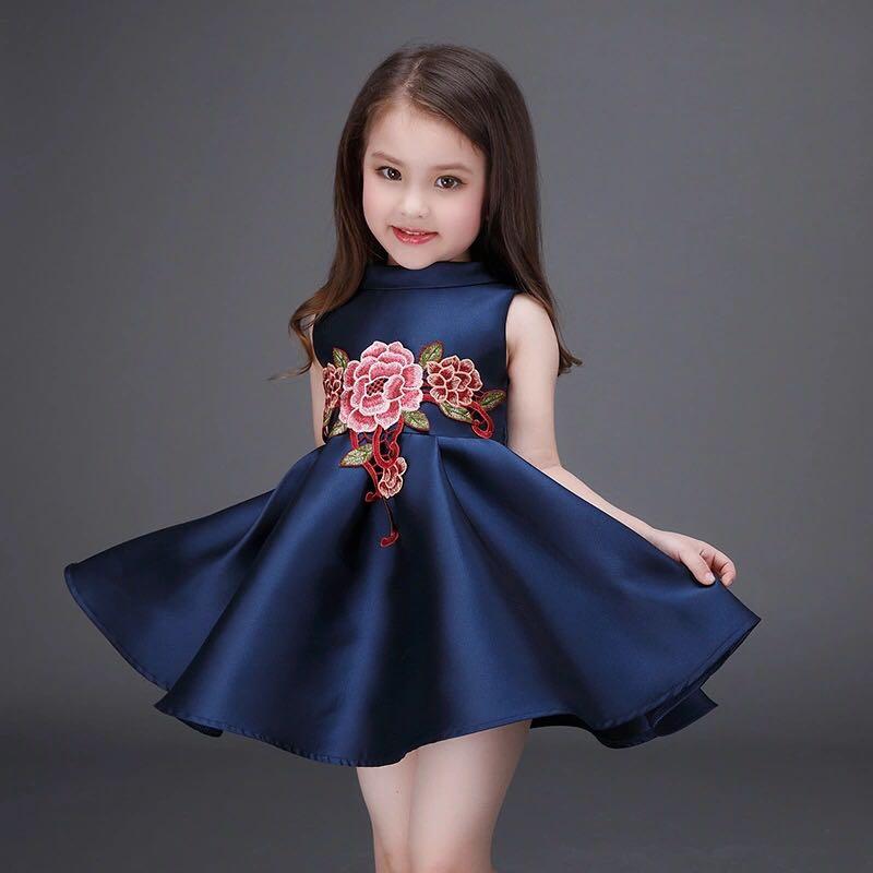 2-12Y Vestido de las muchachas del verano del bordado de la flor sin - Ropa de ninos