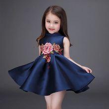 2-12Y Summer Girls Dress Flower Embroidery Sleeveless Sundress Kids Girls Princess Party Wedding Birthday Dress