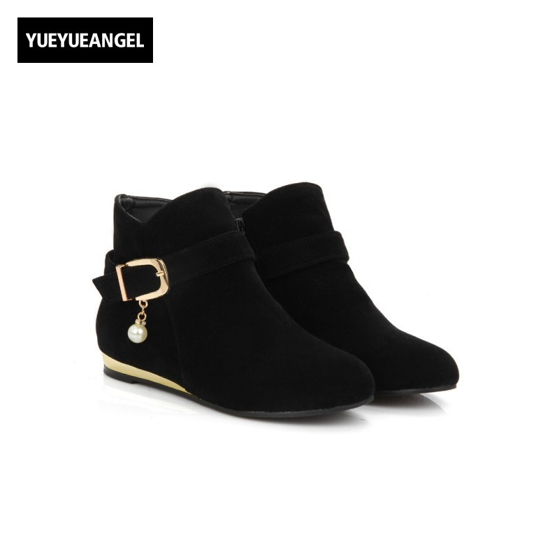 Hot Sale Faux Suede Round Toe Side Zipper Ankle Boots Womens Autumn Pure Fashion Buckle Pearl Design Chaussures Femme Plus Size womens high boots vogue side zipper botas invierno mujer fashion buckle block chunky heel sapatos mulher suede size us 4 10 5
