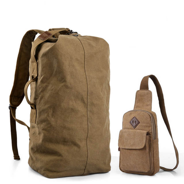 7abca1abed placeholder Edgy Trendy Casual Canvas Backpack Men Large Capacity Simple Backpack  Fashion Hook Buckle Travel Bag Durable