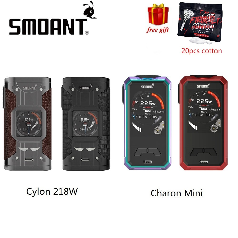 Free Gift Smoant Charon Mini 225W MOD Vs Smoant Cylon 218W MOD Power by 18650 Battery