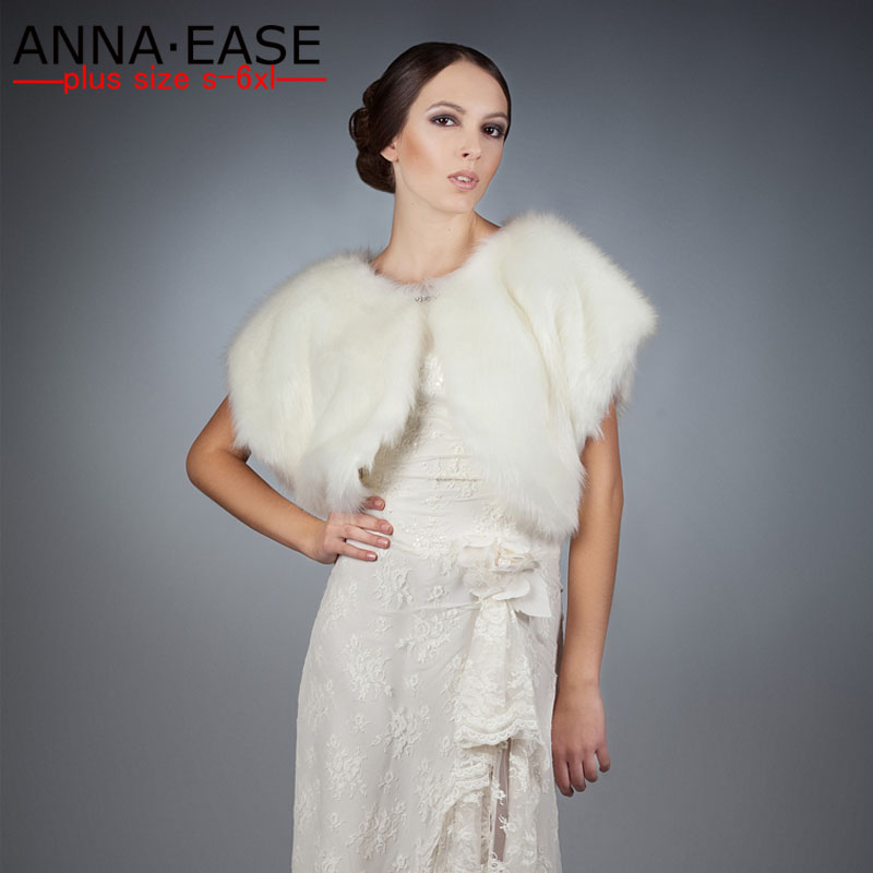 Faux Fur Cape White Fur Shawl for Wedding Dress Christmas Formal Party Dress Women Faux Fur Vest Gilet Rabbit Fur Coat Scarf faux fur cuff pearl beading scallop dress page 7