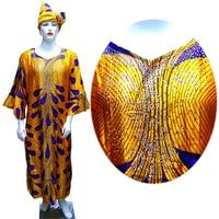 GuyuEra New African Woman Dress Satin Fabric Cloth Headband Rhinestone Decoration African Ethnic Style Dress Plus size XL XXXL
