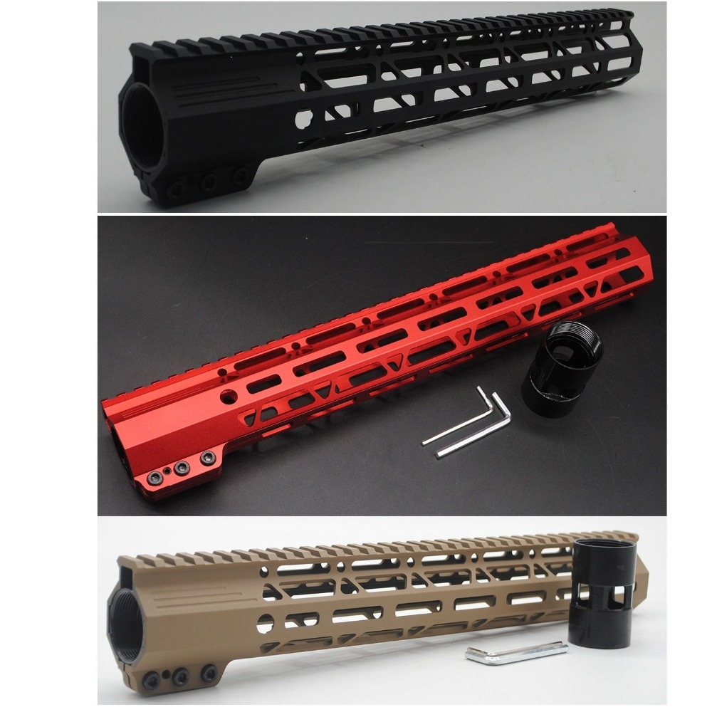 TriRock Black/Red/Tan Color 13.5'' Inch Length Clamping Style M-lok Handguard Rail Free Float Picatinny Mount System