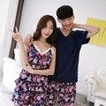 Летний Корейский новый короткими рукавами хлопок пара пижамы для мужчин и женщин случайные дом костюмы наборы
