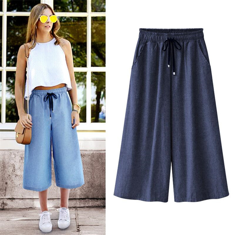 Jeans Denims New 2019 Blue ELastic Waist   Wide     Leg     Pants   Large Size 5XL 6XL 7XL Loose   Pants   Summer Cool Cropped Trousers Women