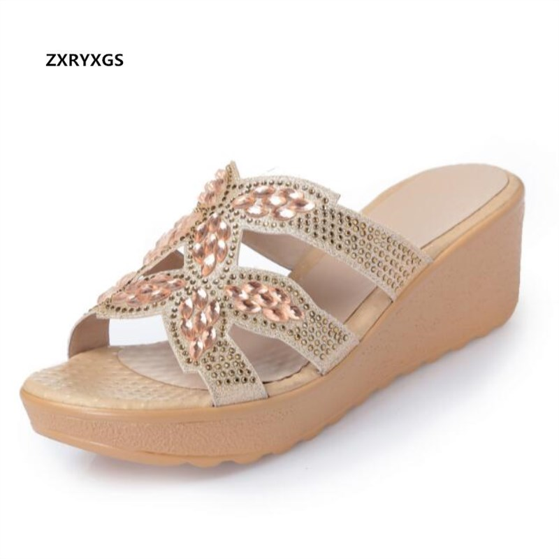 2019 New Fashion Rhinestones Women Shoes Summer Sandals Wedges Slippers Genuine Leather Sandals Non-slip Women Shoes Sandals