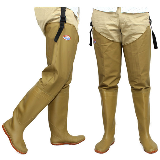 High-Jump Adjust Height Fishing Hunting Waders Waterproof PVC Material Soft Boots Outdoor Hunting Fish Fishing Waders Pant+Boot
