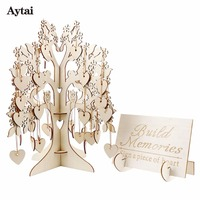 Aytai Wedding Guest Book Party DIY Decorations Famail Tree Graduation Birthday 3D Wooden Wishing Tree Guest