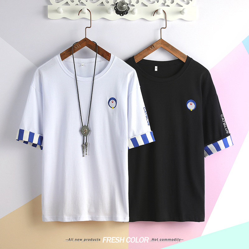 New Men T Shirt O-neck Short-sleeved Slim Fit Blue Striped T-SHIRT Man Top Tee Plus Size Free Shipping