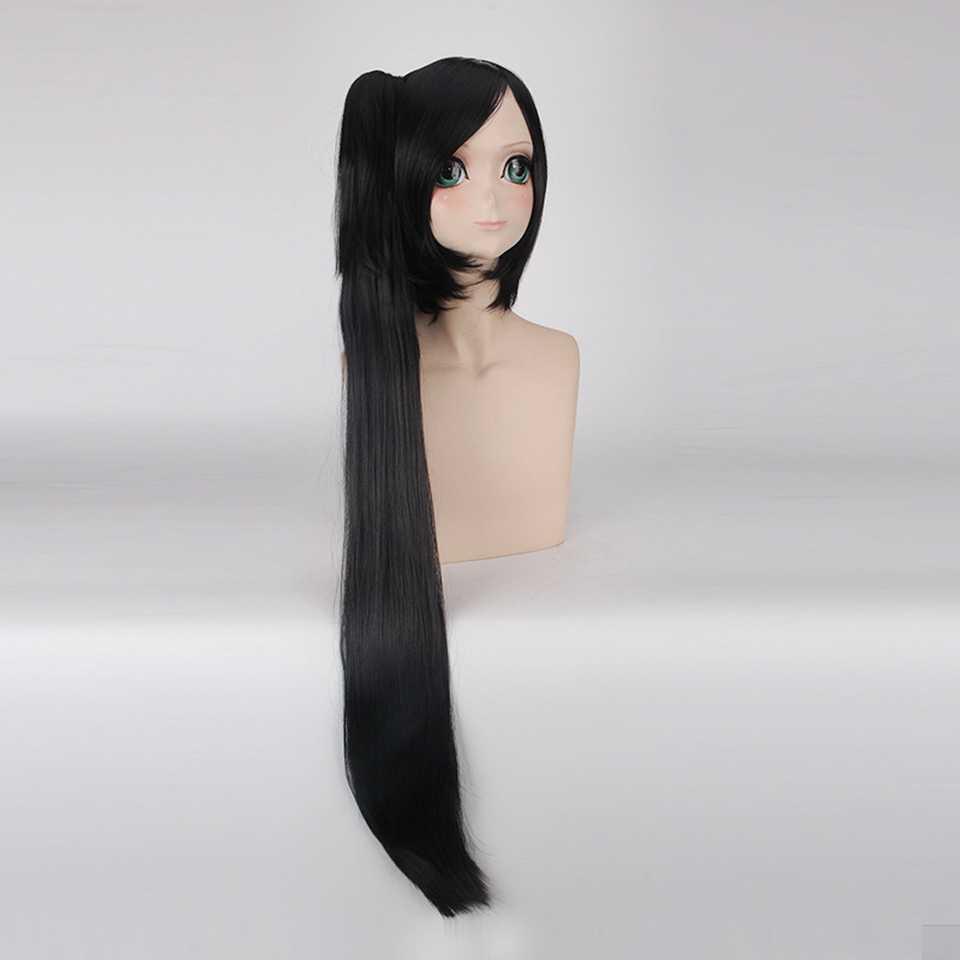 120センチリーグ伝説笑アカリ長い黒ポニーテールかつらコスプレアニメ人工毛ストレートハロウィン衣装かつら用女性