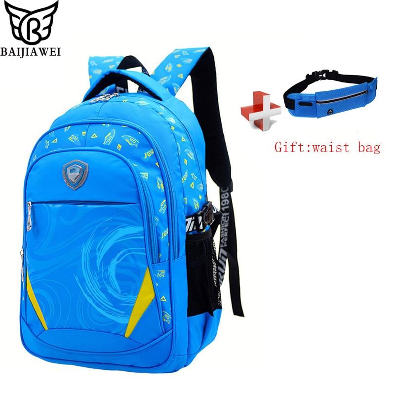 BAIJIAWEI Printed Children School Bag Alleviate Burdens Unisex font b Kids b font font b Backpack