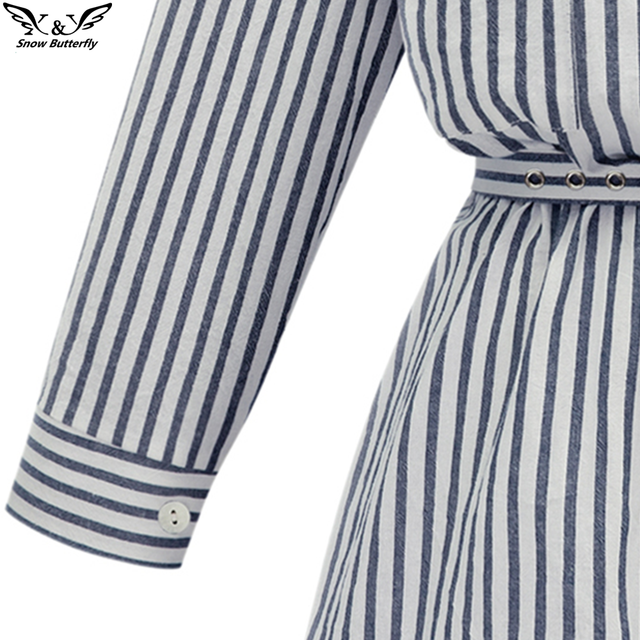 Autumn Winter Women Shirt Dress Lady long Sleeve stripe Bodycon Party Dresses Cotton Blends Plus Size Vestido Casual Vintage