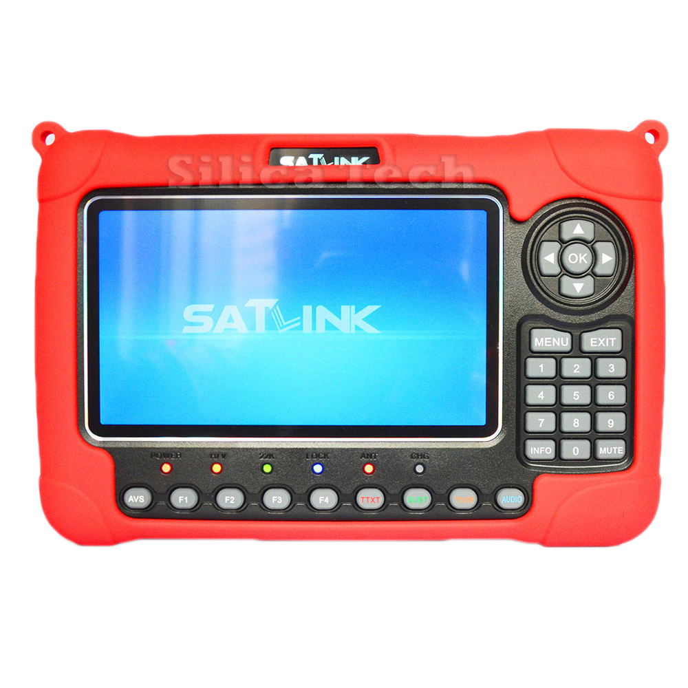Satlink WS-6980 7 Inch LCD DVB-S2 DVB-C DVB-T2 HD TV Spectrum Analyzer Satellite Finder Meter Red original satlink ws 6965 digital satellite meter fully dvb t