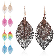 HOCOLE Fashion Leaf Drop Earrings For Women Bohemian Hollow Out Double Pendant Dangle Earring Female Vintage Jewelry Party