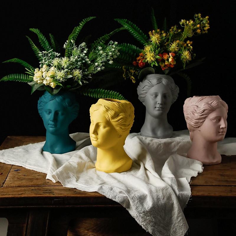 Portrait Sculpture Beauty Fairy Flower Pot Greek Goddess Lady Face Flower Arrangement Vase Cement Rough and