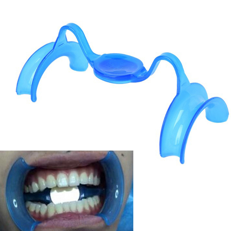 2Pcs/Set Dental Materials Blue M Type Intraoral Cheek Retractor Teeth Whitening Mouth Opener Dentist Equipments With Mirror