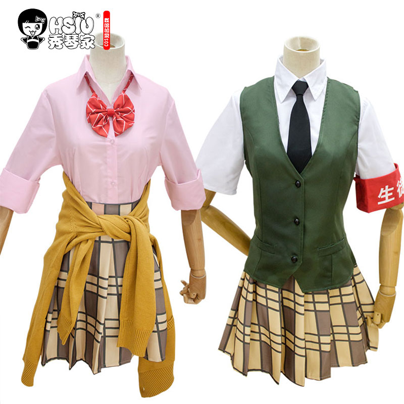HSIU High Quality Citrus Anime Aihara Yuzu Aihara Mei Cosplay Costumes Wig Set Short skirt Japanese-style student wear