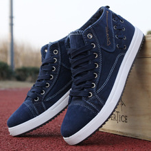 Nice New Men Shoes Fashion Spring/Summer Breathable Men Casual Shoes Korean High-top Lace-up Men Canvas Shose Men Flats Shoes(China)