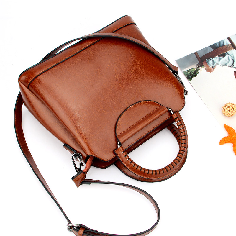 Fashion Genuine Leather Top-Handle Women Handbag Solid Ladies Real Lether Shoulder Bag Casual Large Capacity Tote Crossbody Bags