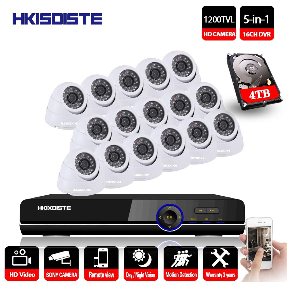 HKIXDISTE 16CH DVR Kit Security Camera System Home Security IR CUT Night Vision Sony 1200TVL Camera