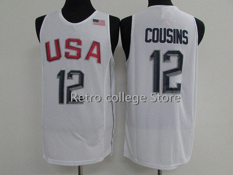 Ретро #14 Draymond зеленый #15 Кармело Энтони #12 Казинс белый Буле команды США Баскетбол Джерси Вышивка сшитые