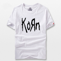 Free Shipping Summer Mens T Shirts Fashion Korn Metal Rock Band Logo Graphic T Shirt Cotton