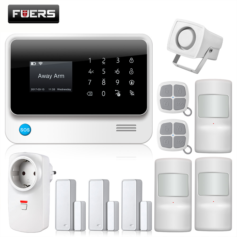 2018 G90B-PLUS GSM Alarm System APP Remote Control Smart Socket Home Intelligent GSM GPRS SMS Wifi Alarm System Security Door g90b plus home security gsm alarm system with gprs wireless home alarm system support andriod ios app collocation alarm sensor
