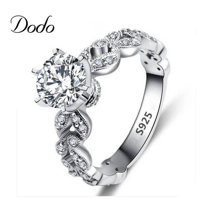 Antique products anillo white gold plated vintage Wedding elegant CZ font b diamond b font jewelry