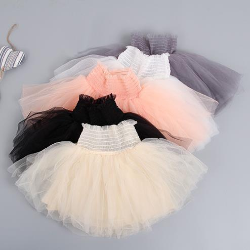 new 2016 spring summer children girls tutu skirts fashion solid high waist toddler girl princess skirt suit 2~7 age girl skirts