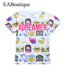 EABoutique Fashion Funny Letter printed kids emoji shirt short sleeve kids boys girls t-shirt  for 4-12 years old