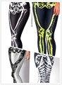 2014 nova leite preto de alta qualidade de crânio moda sexy alta elasticidade spandex galáxia lápis calças de fitness discoteca calças