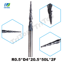 5pcs/Lot R0.5*D4*20.5*50L*2F HRC55 Long Flute Tungsten Carbide Coated Tapered Ball Nose End Mill Cone Type CNC Milling Cutter