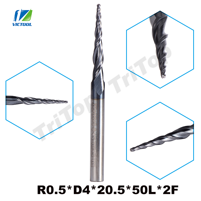 5pcs/lot R0.5*D4*20.5*50L*2F HRC55 long flute Tungsten carbide Coated Tapered Ball Nose End Mill cone type cnc milling cutter slons s300 r2 4 50l hrc55 tungsten solid carbide ball nose end mill for cnc milling machine