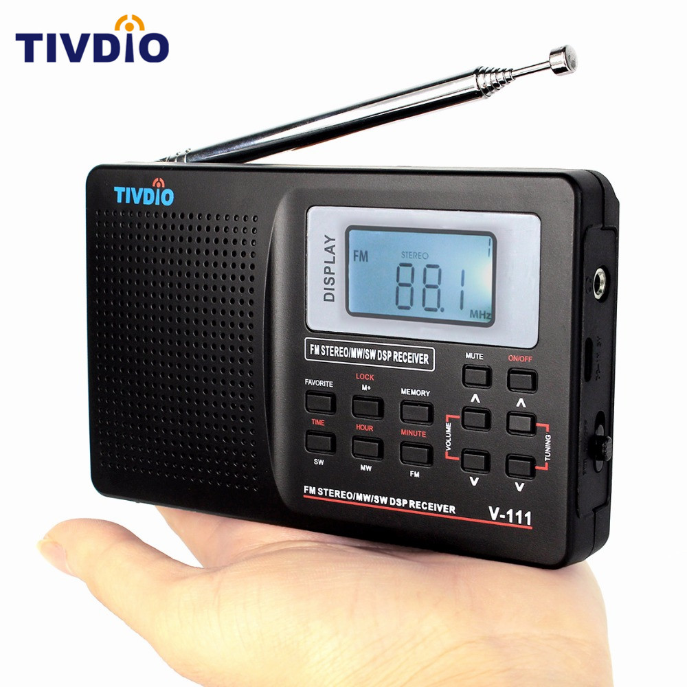 TIVDIO Portable FM Radio DSP FM Stereo/MW /SW /LW Portable Radio Full Band World Receiver Clock&Alarm 9KHZ Radio FM Moscow F9201 freeshipping tecsun pl 600 full band fm mw sw ssb pll synthesized stereo portable digital radio receiver pl600