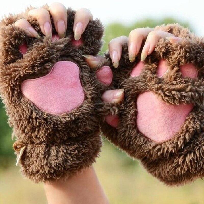 BONJEAN 14colors Winter women Bear Cat Claw Paw Mitten Plush Gloves Short Finger Half Gloves Ladies Half Cover Female Gloves ...