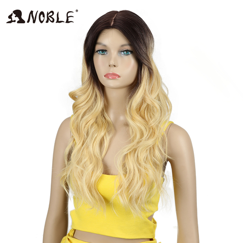 Noble T Part Lace Front ombre blonde Wig 24 Inch Long Wavy Synthetic Wigs Full I Part Wigs 4 Colors Choice Free Shipping Lahore