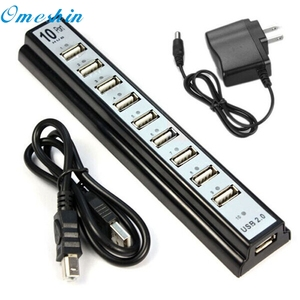 OMESHIN SimpleStone 10 Port Hi-Speed USB 2.0 Hub + Power Adapter for PC Laptop Computer 60315B13
