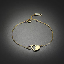 Women Charm Bracelet Hand Chain With Hollow Double Heart Pendant for Wedding Vintage Extendable Bangle Jewelry(China)