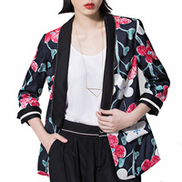 2017 Autumn Womens Floral Blazers Femme Flower Printed Ladies Causal Zipper Jacket Hip Hop Streetwear Oversized