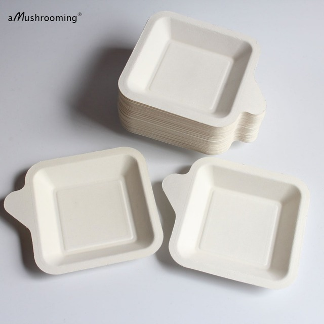 100x party plates disposable tableware pulp tray cake pan plate for wedding party 9 5cm small
