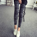 Women's Fashion Elastic Stretch Leggings New Fashion Grid Color Cobweb Graffiti Ankle Length Leggings Fitness Female